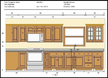 Sample elevation view created with Cabinet Planner