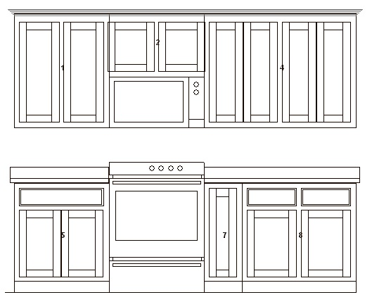 Combined cabinets elevation view