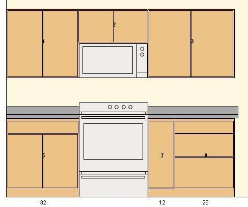 Frameless cabinets elevation view