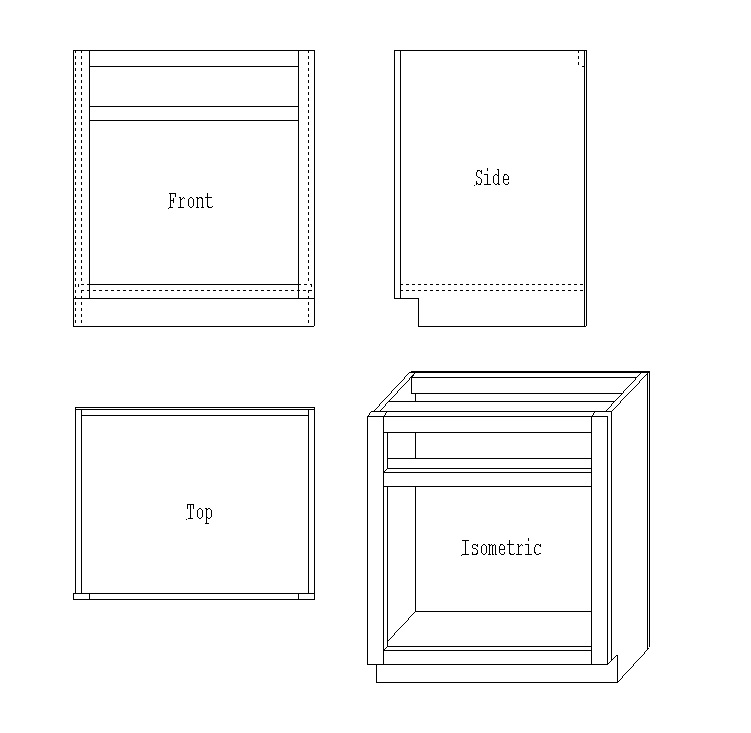 Base cabinet isometric view