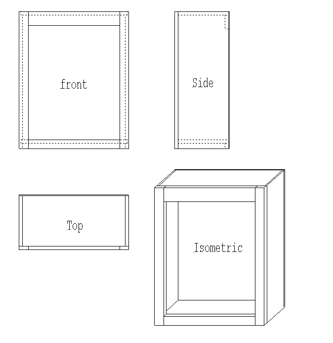Upper cabinet isometric view